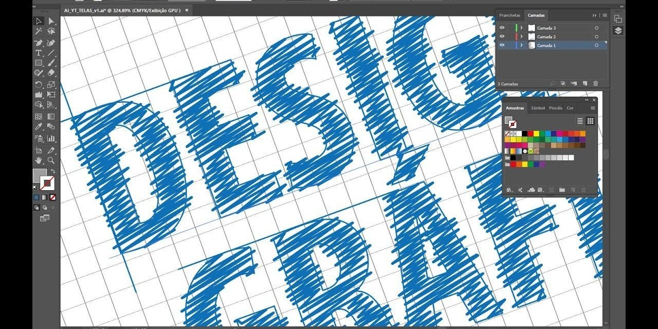CURSO DESIGN GRÁFICO – Tutorial Illustrator – Efeito Blue Print